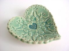 Sweet little heart tray, Hand built stoneware pottery