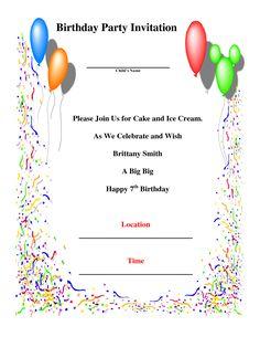 birthday party invitations card
