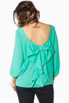 ShopSosie Style : Pippa Bow Blouse in Jade