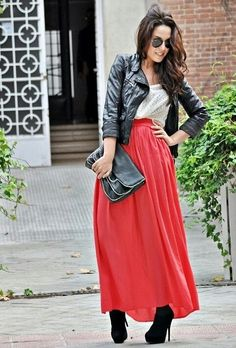 Faux leather and maxi skirt