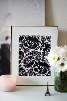 ARIANNA 8.5 x 11 modern black and white floral art print by KhristianAHowell on Etsy