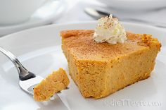 Crustless Pumpkin Pie -  healthy, low calorie, low-carb, low-fat, diabetic friendly - diettaste.com
