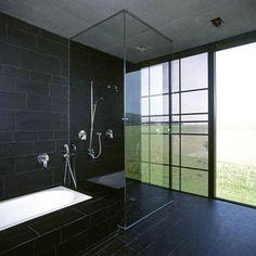 Dark bathroom tile