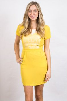 How adorable is this dress for spring?? #yellowdress #sweetyellowdress #yellowlacedress