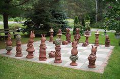 Rabbit and Toad Lawn Chess Set - Goff Creek Pottery Lawn Ornaments, Garden Ornaments, Garden Whimsy, Garden Art, Outdoor Landscaping, Outdoor Gardens, Outdoor Fun, Outdoor Ideas, Outdoor Decor
