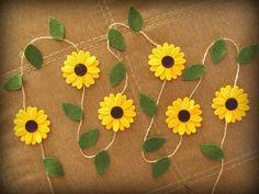 Felt sunflower garland wedding decoration / decor / farm barn park rustic country garden party