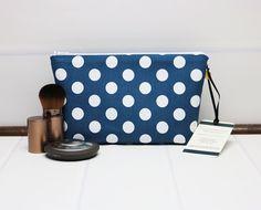 Polka Dot Makeup Bag - Small Makeup Pouch - Small Cosmetic Bag - Blue Cosmetic Pouch - Blue Cosmetic Bag - Zipper Fabric Pouch - Riley Blake by TalfourdJones on Etsy