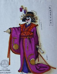 The Mikado (Katisha). Costume design by Kärin Kopischke. Costume Design Sketch, Russian Ballet, People Art, Theatre, Opera, Sketches, Princess Zelda, Costumes, Unique