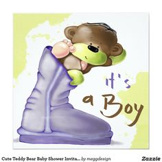Cute Teddy Bear Baby Shower Invitation