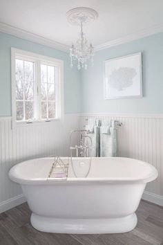 House of Turquoise: Supply New England's Kitchen and Bath Gallery- Ewing blue benjamin moore All White Bathroom, Blue Bathroom Decor, Bathroom Colors, Bathroom Interior, Wainscoting Bathroom, Bathroom Marble, Budget Bathroom, Bathroom Cabinets, Bathroom Faucets