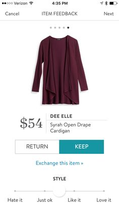 Love draped cardigans. This color is perfect to go with my olive tights you sent me in my last fix.