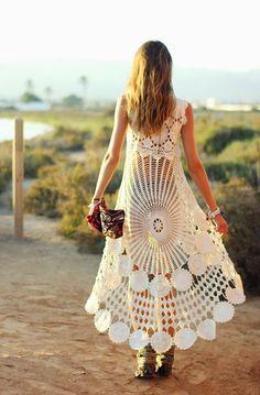 Белый летний сарафан крючком. Вязание из мотивов. #crochet_summer_dress…