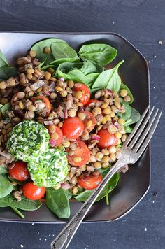 Lentil Salad with Herbed Goat Cheese + Balsamic Vinaigrette