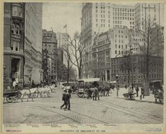 Beginning of Broadway in 1899 - larger cities had paved streets and sidewalks, public transport, and high-rise buildings
