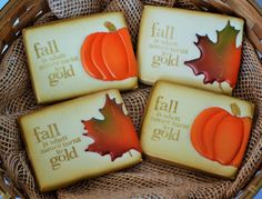Fall Leaves and Pumpkins   Autumn    Pumpkin    Maple leaf    Air Brushed Decorated Sugar Cookies     Cookie Connection