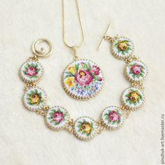 Купить Браслет, кулон, серьги и кольцо - вышивка, украшения с вышивкой, украшения ручной работы, украшения