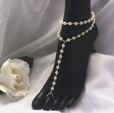 Simple Style Pearl Sandal & Anklet by JewelryByAngel on Etsy, $24.99 PERFECT for a beach wedding