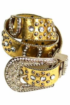 Western Rhinestone Studded Belt With Horse Shoe