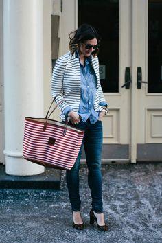 stripes blazer + chambray + leopard pumps