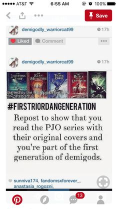 Read that version first. Though sadly i dont own the oiriginal cover sieres. But Im a first generation demigod, yes.
