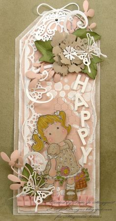 PJSDesigns.blogspot.com  Happy Tag with 250 Tilda with Butterfly Dress and lots of fun die cuts.  http://www.magnoliastamps.us/  #cards #tags #crafts