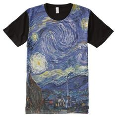 Shop Vincent Van Gogh - The Starry Night Fine Art All-Over-Print T-Shirt created by ArtLoversCafe. Personalize it with photos & text or purchase as is! Gogh The Starry Night, Stylish Shirts, Classical Art, S Shirt, Vincent Van Gogh, Bold Colors, Unique Art, Printed Shirts, Oil On Canvas