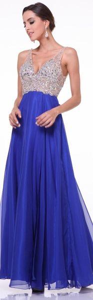 Preorder - Royal Blue V-Neck Embellished Chiffon Gown 2015 Prom Dresses Royal Blue Evening Gown, Evening Gowns, European Dress, European Fashion, European Style, Prom Dresses 2015, Formal Dresses, Prom Gowns, Party Dresses