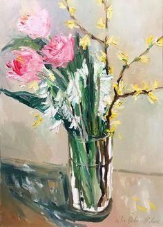 Buy Spring flowers in a glass., Oil painting by Lilia Orlova-Holmes on Artfinder. Discover thousands of other original paintings, prints, sculptures and photography from independent artists.