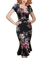 VfEmage Women's Vintage 1950s Pinup Mermaid Party Cocktail Evening Wiggle Dress