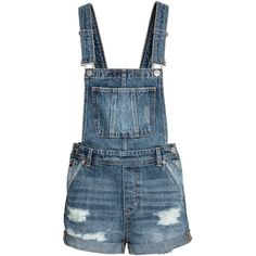 Denim Bib Overall Shorts $39.99 ($40) ❤ liked on Polyvore featuring shorts, denim overall shorts, short overalls, overalls shorts, short shorts and blue shorts