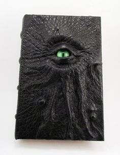 Green eyed Necronomicon. Handmade Cthulhu leather book.