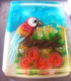 Jelly Art Parrot in flowers frame