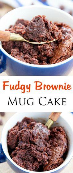 Brownie Mug Cake. Fudgy, chocolaty and cooks in 1 minute!