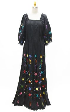 1970s mexican embroidered black floral bell sleeve boho dress