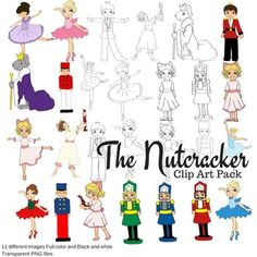 This is a clip art set based on The Nutcracker ballet. There are 11 different transparent PNG images included in both full color and black and white. Each image is depicted in the preview image.Included in Zip:ClaraNutcrackerPrinceRat KingBallerinasToy Soldiers31 files in all.These can be used in personal and commercial use.