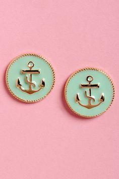 Cute Mint Green Earrings - Anchor Earrings