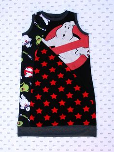 Ghostbusters, Tunic Dress, Upcycle Dress, Sleeveless Dress, marshmallow man, ghostbusters slimer, 80s movies, gifts for nerd kids by MiniGeeks on Etsy