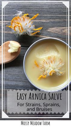 Learn how to make an easy Arnica salve for strains, sprain, and bruises. A must have salve for your natural first aid kit Natural Home Remedies, Herbal Remedies, Health Remedies, Arnica Salve, Herbal Medicine, Natural Medicine, Sprain, Aid Kit, Healing Herbs