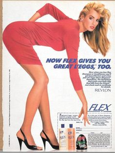 Leggy Woman in Red Dress & L'eggs Pantyhose Vintage Revlon Flex Ad Clipping