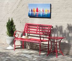 Gifted Living Red Metal Garden Bench