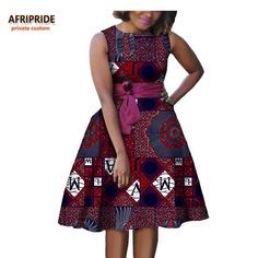 Online Shop 2019 autumn women african dress AFRIPRIDE private custom sleeveless knee-length A-Line pleated casual dress pure cotton African Dresses For Kids, Ankara Dress Styles, Latest African Fashion Dresses, African Dresses For Women, African Print Dresses, African Attire, Casual Dresses For Women, Chitenge Dresses, Africa Dress