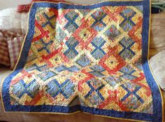 Blue and Red Lapquilt by ClaudiaArty on Etsy, £70.00