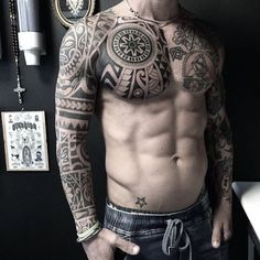 Body Tattoos Ideas - Nude & Naked Guys and Girls Tattoos // September, 2019 A Polynesian full body tattoo.A Polynesian full body tattoo. Tribal Sleeve Tattoos, Best Sleeve Tattoos, Forearm Tattoos, Body Art Tattoos, New Tattoos, Girl Tattoos, Tattoo Man, No Fear Tattoo, Power Tattoo