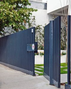 Modern fence, vertical fence, modern gate