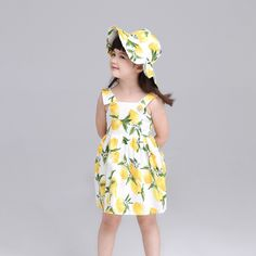 Girls Summer Dress Kids Clothes 2016 Italy Brand Children Dress Princess Lemon Print Pattern Baby Girls Dresses for Party