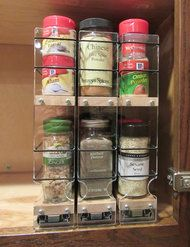 Spice Rack with compact design to save space yet provide complete, full depth access to all your spices.  3 individual  drawers slide out on quality metal ball-bearing slides.