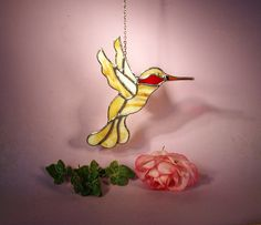 Suncatcher Stained Glass Hummingbird with Ruby Throat  (754) by StainedGlassbyWalter on Etsy