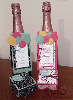 Miss Pinks Craft Spot featuring Stampin' Up! products by Sue Vine Wine Bottle Tags, Wine Bottle Covers, Wine Tags, Wine Bottles, Pink Crafts, Up Balloons, Wine Gifts, Greeting Cards Handmade, Stampin Up Cards