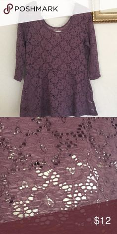 Purple Lace Top All lace top, worn maybe twice Decree Tops Purple Lace, Lace Tops, Lace Peplum Tops