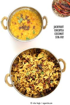 Fanasachi Bhaji - Maharashtrian Jackfruit Brown Chickpea Coconut Stir fry with coconut, sesame, Indian spices. Side Recipes, Veggie Recipes, Indian Food Recipes, Ethnic Recipes, Vegetarian Recipes, Curry Recipes, Dinner Recipes, Canned Jackfruit, Jackfruit Recipes
